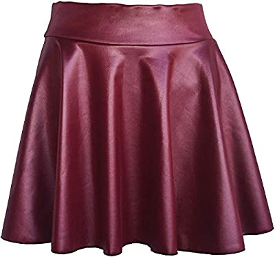 TOOTO Women's Faux Leather Casual Fashion Stretchy Flared Pleated A-Line Circle Mini Skater Skirt