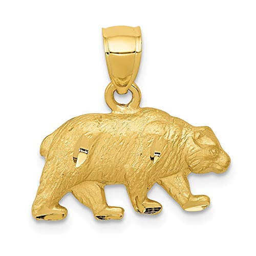 14k Yellow Gold Bear Pendant Charm Necklace Animal Man Fine Jewelry Gift For Dad Mens For Him