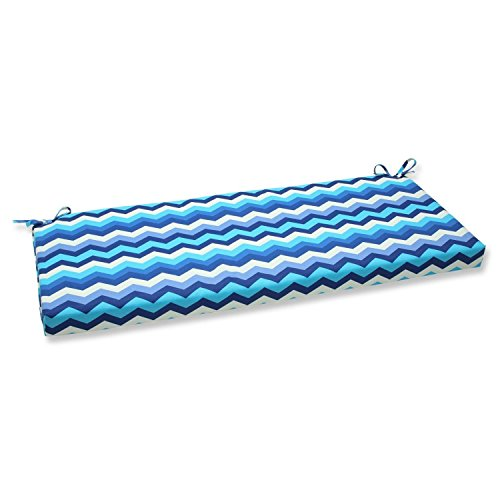 "45"" Rayas Azules Blue, Navy and White Chevron Striped Outdoor Patio Bench Cushion"