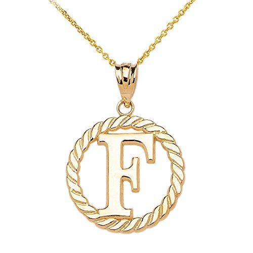 """Collier Femme Pendentif 10 Ct Or Jaune """"F"""" Initiale À Corde Cercle (Livré avec une 45cm Chaîne)"""