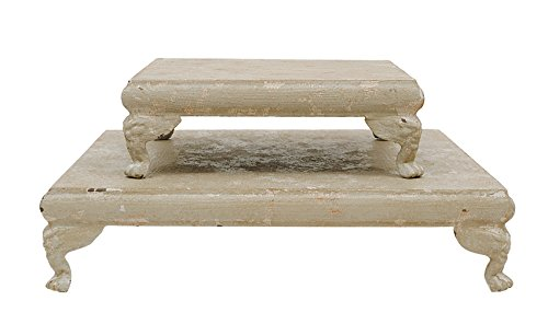Creative Co-Op DA1394 Set of 2 Metal Footed Pedestals