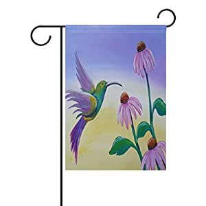 "PersonalizedShop Amazing Flying Hummingbird With Flowers 28"" x 40"" Double Sided Fade Resistant Polyester Garden Flag"