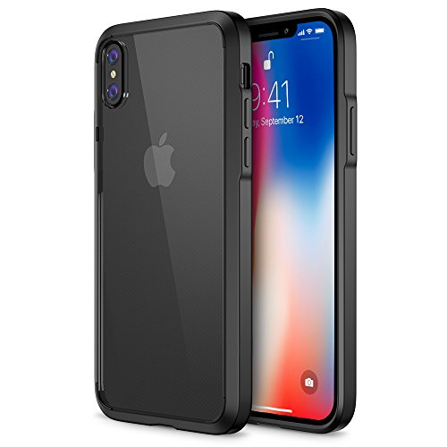 Trianium Case Compatible for Apple iPhone X Case 2017 ONLY (5.8 Display Phone) Clarium Series with Reinforced TPU Hybrid Cushion and Rigid Back Panel Covers [Enhanced Hand Grip] -Glossy Black/Clear