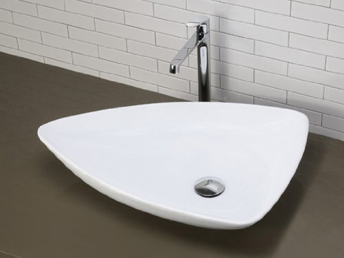 Florentino Triangle Counter Top Bathroom Sink Wash Basin Compact Ceramic 650
