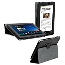 """GreatShield TOME Series Protective Leather Folio Flip Cover Case with Built-In Stand for Acer Iconia Tab A110 7.0"""" Inch Tablet - Black"""