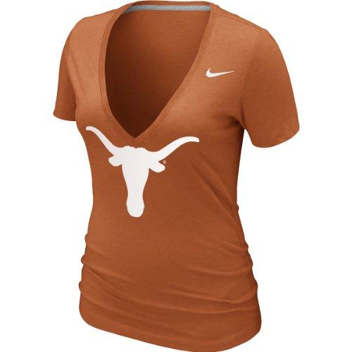 Nike Texas Shirt - Nike Texas Longhorns Women's Deep V-Neck Burnout T-Shirt Large