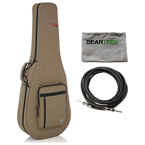 Gator GTR-DREAD12-TAN Transit Series Rigid Lightweight Dreadnought Case w/Cable