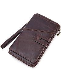 HWX Cartera para Hombre Nueva, Bolso Largo de Cuero con Embrague Money Clip Vintage Multi-Card Purse (Color : Coffee Color, tamaño : 21.5cm*12cm*3cm)
