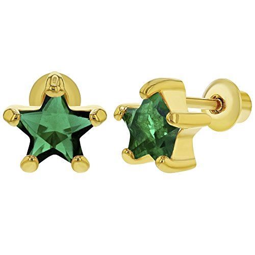 - 18k Gold Plated May Green Crystal Star Screw Back Girls Earrings