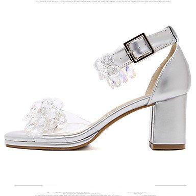 LvYuan Tacón Robusto-Otro-Sandalias-Vestido-Cuero Patentado-Plata Silver