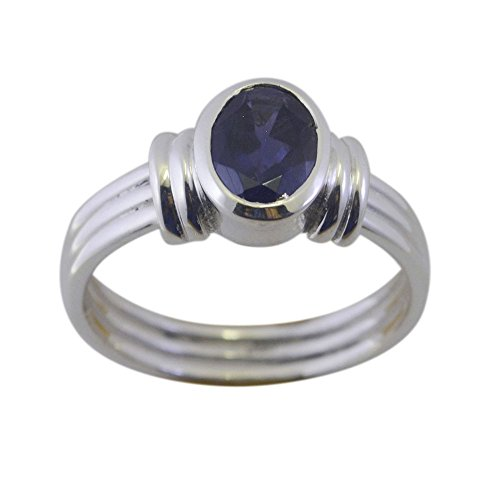 Genuine Oval Cut Iolite Ring 925 Silver Bezel Style For Gift Blue Stone Handmade Size 5,6,7,8,9,10,11,12 (Iolite Bezel Ring)