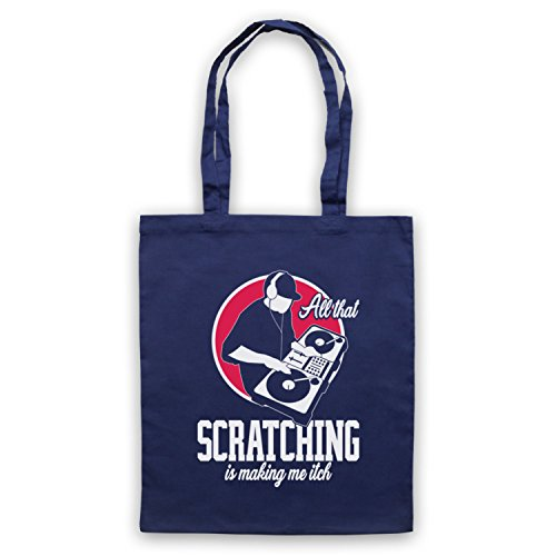 My Icon Art & Clothing All That Scratching Is Making Me Itch DJ Slogan Bolso Azul Marino