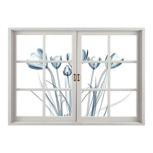 - SCOCICI Wall Mural, Window Frame Mural/Xray Flower,X ray Transparent Image of Tulips Solarized Effects Nature Inspired New Vision Home,Teal White/Wall Sticker Mural