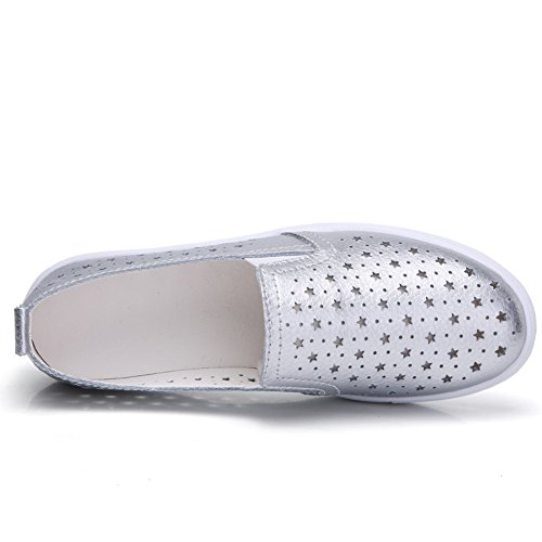 Loafers White Silver On Comfort hollow Driving Womens Sole Casual Shoes Leather Slip HKR Out Sneakers Tennis zxCFw0nO