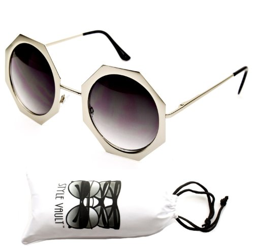 V158-vp Octagon Round Circle Vintage Retro Sunglasses (JC Silver, - Jc Sunglass