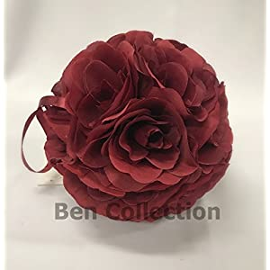 10 Pack 7 Inch Romantic Rose Pomander Flower Balls Rose Bridal for Wedding Bouquets Artificial Flower DIY Burgundy By Ben Collection 16