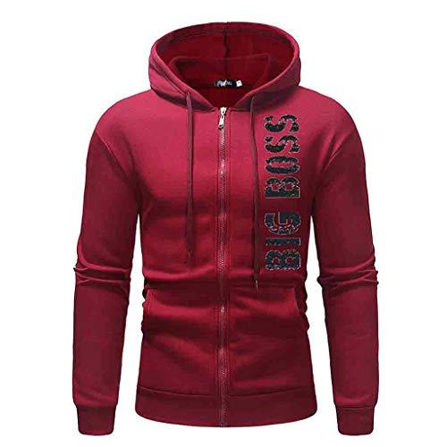 2019 Men Casual Hoodie Pullover Sweatshirt,Boys Autumn Winter Long Sleeve Outwear Tops (M, Red) ()