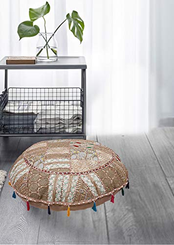 Indian Vintage Round 32inch Pouf Cover,Patchwork Ottoman, Living Room Patchwork Foot Stool Cover,Decorative Handmade Home Chair Cover (Round Covers Ottoman)