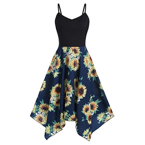 Kulywon Plus Size Fashion Womens Sunflower Print Asymmetric Camis Handkerchief Dress Navy