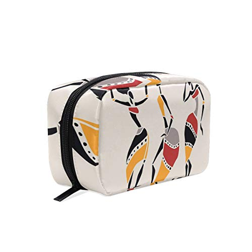 African Dancers Silhouette Set Ethnic Native Dresses Party Carnival Tradition Travel Makeup Cosmetic Bags Organizer Bag Multifunction Case Pouch Cosmetic and -