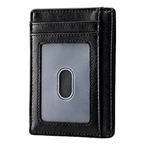 Apsung Slim Minimalist Front Pocket RFID Blocking Leather Wallets for Men Women (Black)