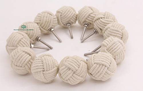 Roorkee Instruments India 12 Nautical Twisted Jute Rope Door Knobs/Rope Knot Drawer Pulls and Knobs/Pull and Push Handle Knobs for Cabinets, Wardrobes & Cupboards/Nautical Hardware Decor,43mm