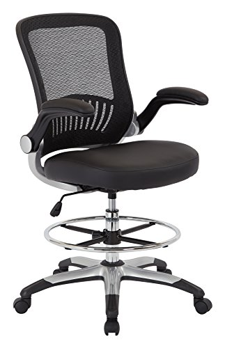 Office Star Breathable Mesh Back and Padded Faux Leather Seat Drafting Chair with Flip Arms and Silver Accents, Black