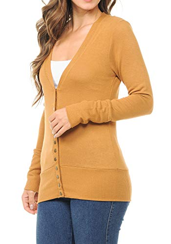 ClothingAve. Women's Snap Button 3/4 Or Long Sleeve Sweater Cardigan with Ribbed Detail Collection (S-3X) (Long Sleeve - Ash Mustard, ()