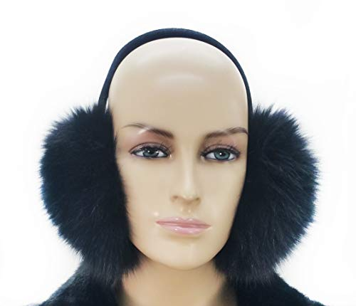 Real Fox Fur Earmuff (Black) (Fox Fur Earmuffs)