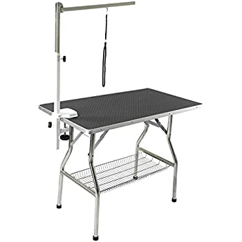 """Flying Pig Grooming Small Stainless Steel Frame Foldable Dog Pet Table, 32"""" by 21"""", Black"""
