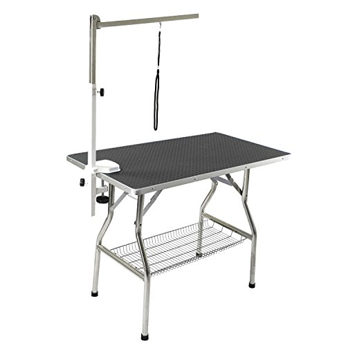 Flying Pig Grooming Medium Stainless Steel Frame Foldable Dog Pet Table, 38
