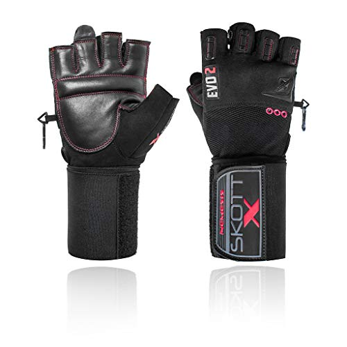 skott 2018 Evo 2 X-Edition Weightlifting Gloves with Integrated XL Wrist Wrap Support - Double Stitching for Extra Durability - The Best Body Building Fitness and Exercise Accessories (Large)