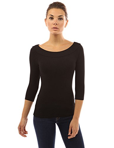 PattyBoutik Women Boat Neck Raglan 3/4 Sleeve Blouse (Black Large)