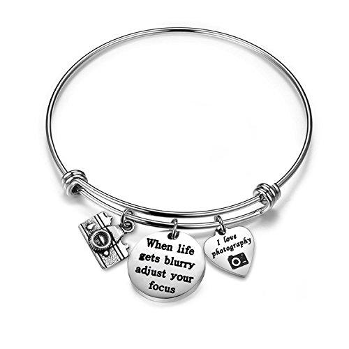 Gzrlyf Photographer Bracelet Camera Charm Bracelet When Life Gets Blurry Adjust Your Focus Jewelry Photographer Gift (Camera Bracelet)