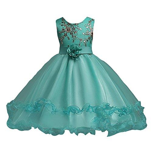 LSERVER-Flor vestido de los niñas para las fiestas en primavera u otoño, Menta Verde, 160: Amazon.es: Ropa y accesorios