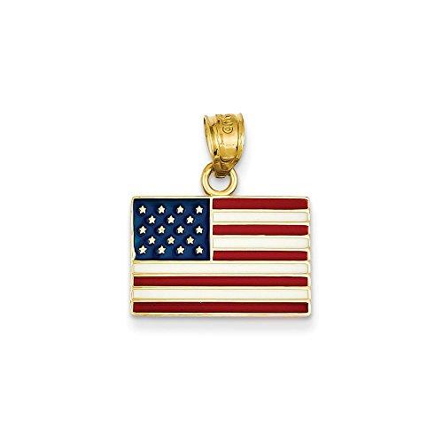 Mireval 14k Yellow Gold Enameled United States Flag Pendant (17.5 x 19.5 mm)