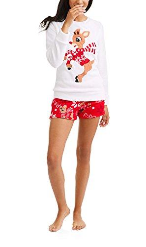 MJC International Rudolph The Red-Nosed Reindeer Top and Short Plush Fleece  Sleep Set - 650d6d4b4