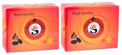 Sunlight High Quality Premium Hookah Coal - 100 Coals Per Box, 10 Rolls of 200 Charcoal Tablets - 33mm ... (200)