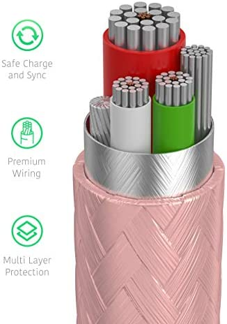TalkWorks iPhone Charger Lightning Cable 10ft Long Braided Heavy Duty Cord MFI Certified for Apple iPhone 12, 12 Pro/Max, 12 Mini, 11, 11 Pro/Max, XR, XS/Max, X, 8, 7, 6, 5, SE, iPad - Rose Gold