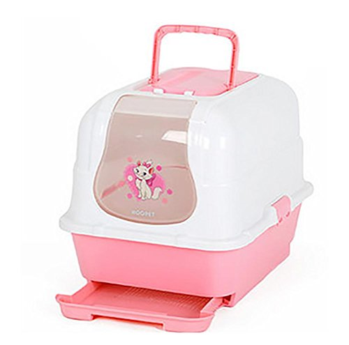 DAN Litter Box with Lid – Hooded Cats Litter Pan, Pink