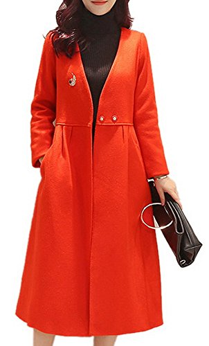 Lightweight Worsted Wool Suit (Women's Casual Elegant V-Neck Slim Fit Woolen Long Trench Coat Dress Jacket Red)