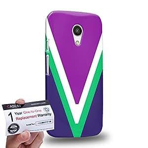 Case88 [Motorola Moto G (2nd Gen)] 3D impresa Carcasa/Funda dura para & Tarjeta de garantía - Art V-Neck Colour Blocking