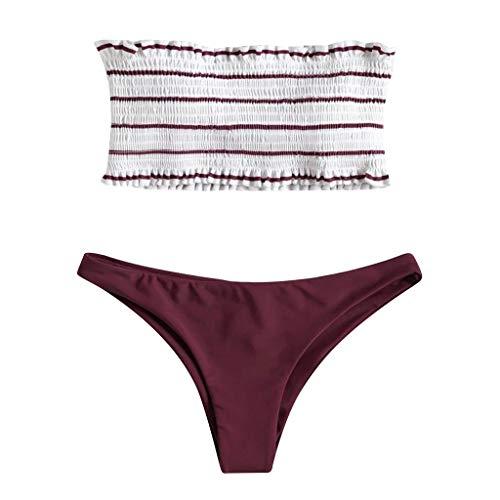 Price comparison product image Women's Two Piece Stripe Strapless High Cut Bandeau Bikini Set Swimsuit 2 Piece Red