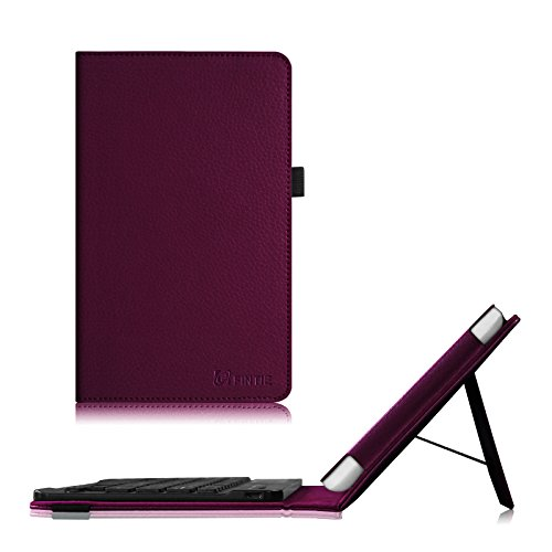 iRULU eXpro X1S, Dragon Touch S8 8 Inch Tablet Keyboard Case - Fintie Premium PU Leather Folio Stand Cover with Removable Wireless Bluetooth Keyboard, Purple