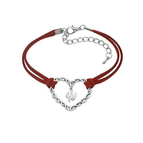(BR676C RED CORD HEART BRACELET 7 1/2
