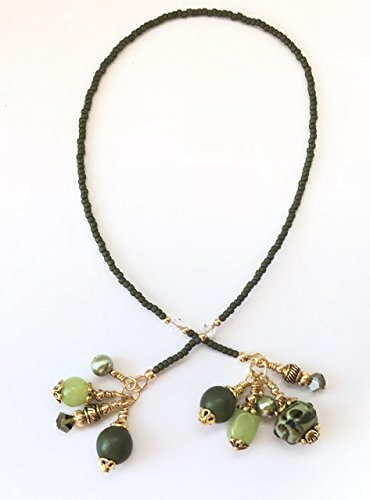 Beaded Lampwork Swarovski Bookmark - Handmade Beaded Bookmark~Olive Green Flowers Lampwork~Olive Green Pearls~Gold~Swarovski Crystal~Book Thong