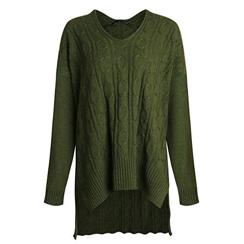 Masterein Lache Femmes Casual Pull en Maille Fille irrgulire Texture Manteau Manches Longues vert
