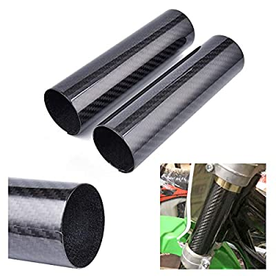 """PRO CAKEN 7"""" Carbon Fiber Front Shock Absorber Upper Fork Protector Cover Wrap Guard Gaiter Boots for Dirt Bike Motorcycle CRF250R CRF250X CRF450R CRF450X YZ125 YZ250 YZ250F YZ450F YZ250X WR 250F 450F"""