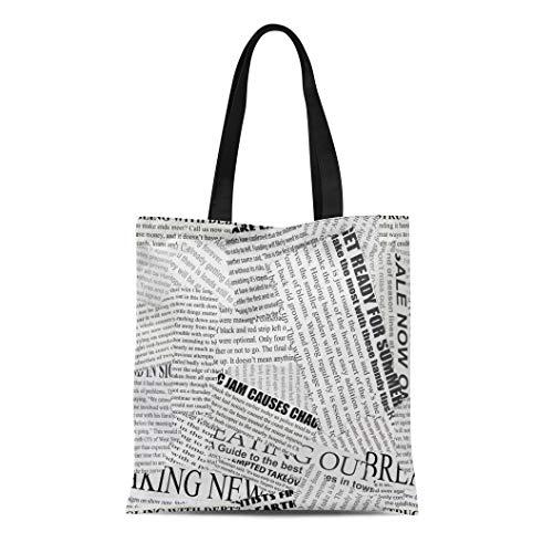 Semtomn Canvas Tote Bag Shoulder Bags News Black and White Torn Newspaper Continuous Pattern Left Women's Handle Shoulder Tote Shopper Handbag