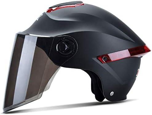 ZJJ ヘルメット- ファッションユニセックスヘルメット、ファッションレイン、UVプロテクションヘルメット、ブラウンロングレンズ (色 : マットブラック まっとぶらっく, サイズ さいず : One size)